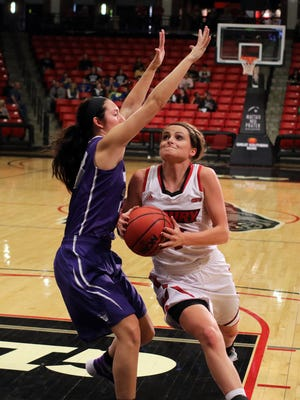 Drury's Heather Harman had a team-high 14 points and seven assists during Saturday's home game against Truman State University.