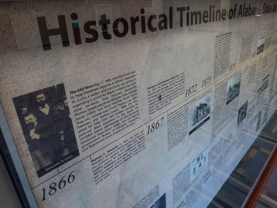 The history of Alabama State University is displayed at the Levi Watkins Learning Center on the ASU campus in Montgomery, Ala. on Monday July 10, 2017.