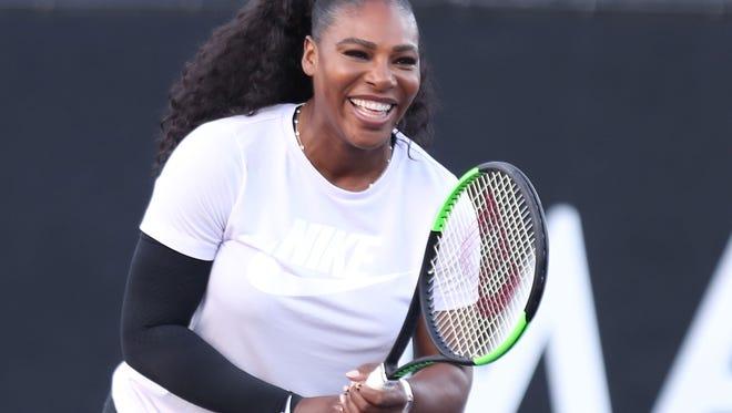 Serena Williams at the Desert Smash charity tennis tournament in La Quinta, March 6, 2018.