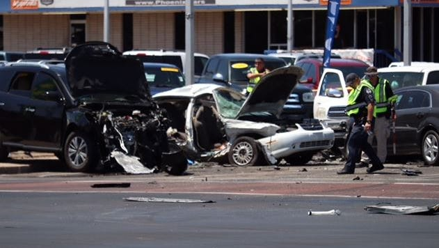 The scene of a fatal crash at Mesa Drive and Main Street in Mesa on May 23, 2018.