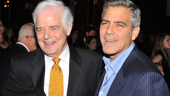 "Former journalist/TV personality Nick Clooney and son George Clooney attend the after party for the premiere of ""The Ides of March"" at the Metropolitan Club on October 5, 2011 in New York City."