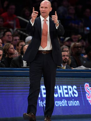Seton Hall head coach Kevin Willard directs players during the first half of an NCAA basketball college game against St. John's in New York, Saturday, Jan. 18, 2020. (AP Photo/Sarah Stier)