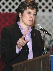 Deputy Assistant Secretary of Defense Allison Barber speaks in 2005.