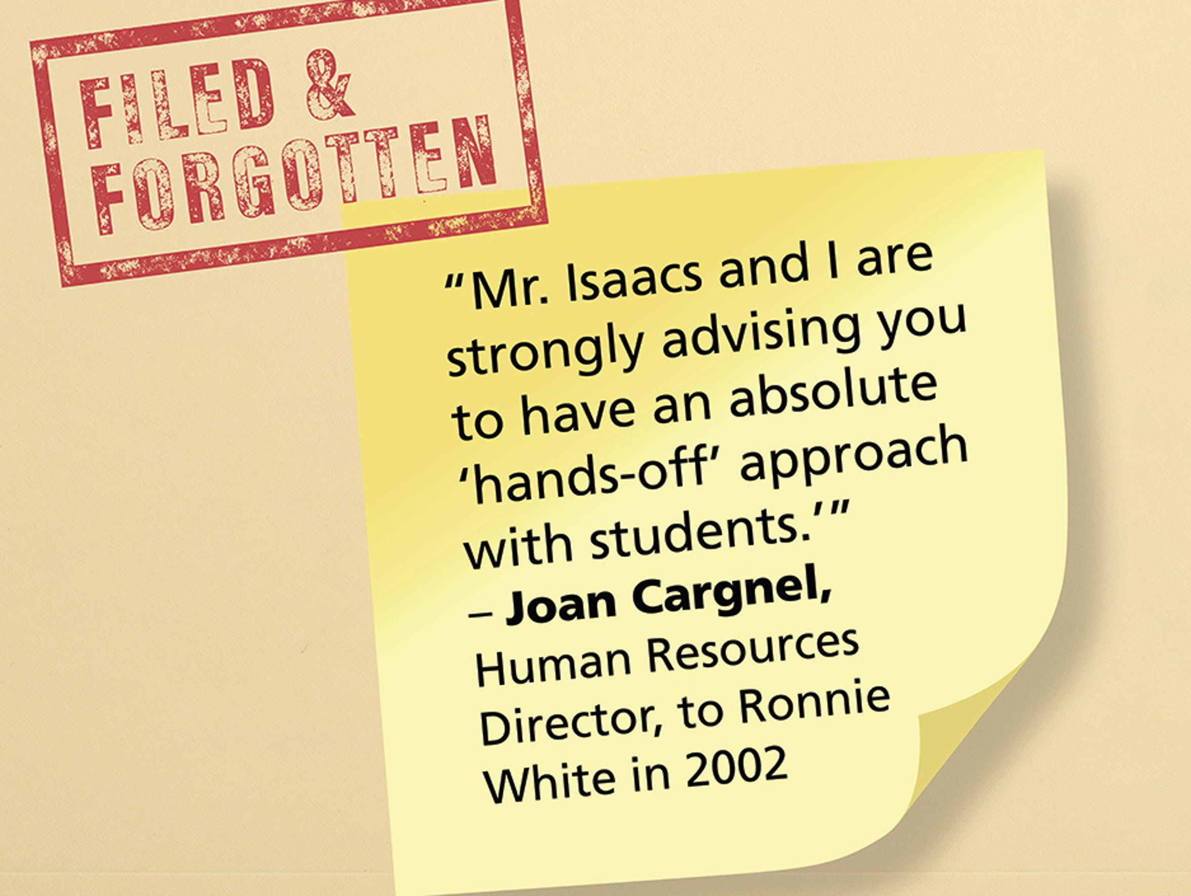 Quote from HR memo to Ronnie White.