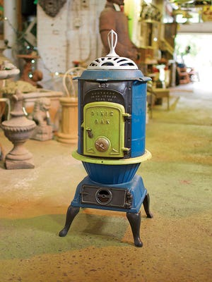 Fresh paint gives this old Dixie stove a new life.