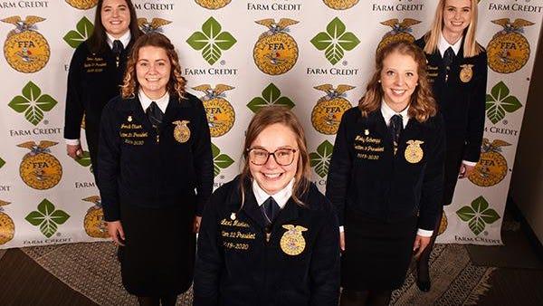 The 2020-2021 Illinois FFA State Officer team are from left: Emma Kuhns, Treasurer; Jordi Oliver, Secretary; Lexi Mueller, President; Molly Schempp, Vice President; and Margaret Vaessen, Reporter.