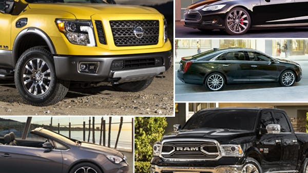 Clockwise from top left: Is the 2016 Titan a beauty or beast? Is the Tesla Model S overhyped? Will Cadillac's move to New York backfire? What's up with the grille on the 2015 Ram? And is Buick worth its rank?