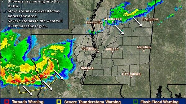 Large hail and damaging winds are possible in Mississippi today.