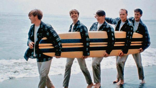Beach Boys, circa 1962-63.  From left: Dennis Wilson, David Marks, Carl Wilson, Mike Love, Brian Wilson.