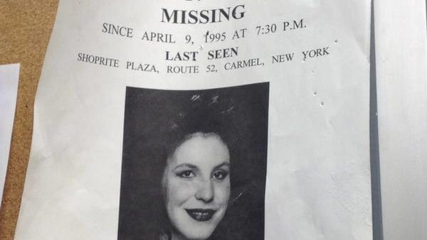 A missing-persons poster in the lobby of the Carmel Police Department.