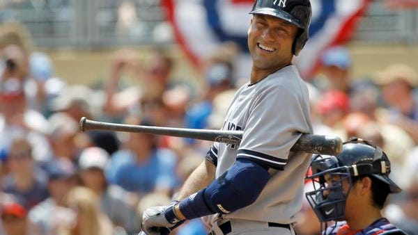 Derek Jeter singled in the ninth inning Sunday to become the eighth player in major-league history to reach 3,400 hits.