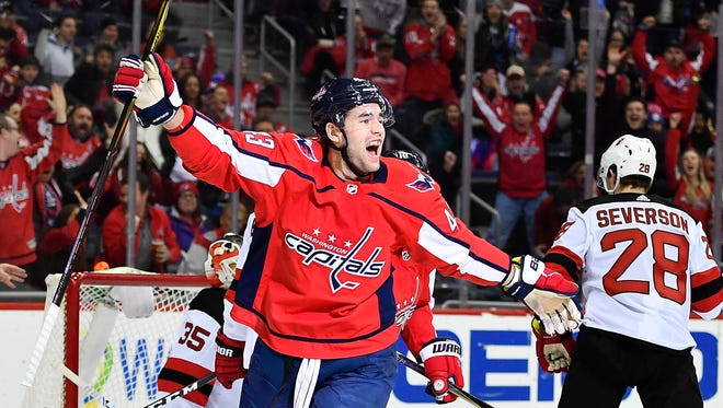 Dec 30, 2017; Washington, DC, USA; Washington Capitals right wing Tom Wilson (43) celebrates after scoring a goal against the New Jersey Devils during the first period at Capital One Arena.