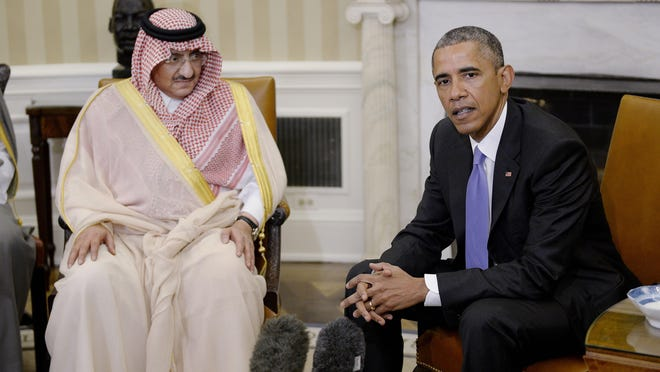 U.S President Barack Obama holds a bilateral meeting with Crown Prince Mohammed bin Nayef of Saudi Arabia in the Oval Office at the White House May 13 in Washington, DC.