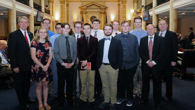Senator Dorsey Ridley, D-Henderson, last week recognized the Henderson County High School academic team on the floor of the Kentucky State Senate for winning the 2017 Governor's Cup state championship. The Senate adopted Ridley's Senate Resolution 181 honoring the team for winning its first-ever academic state championship.