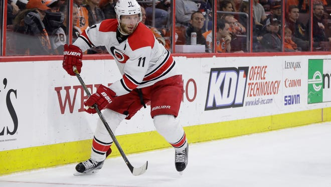 Carolina Hurricanes' Jordan Staal in action during an NHL hockey game against the Philadelphia Flyers, Sunday, March 19, 2017, in Philadelphia. (AP Photo/Matt Slocum)