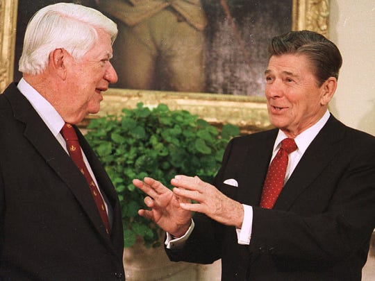During more mannerly days, this November 1985 photo shows former President Ronald Reagan, right, talking with House Speaker Tip O'Neill, D-Mass., in the Oval Office of the White House.