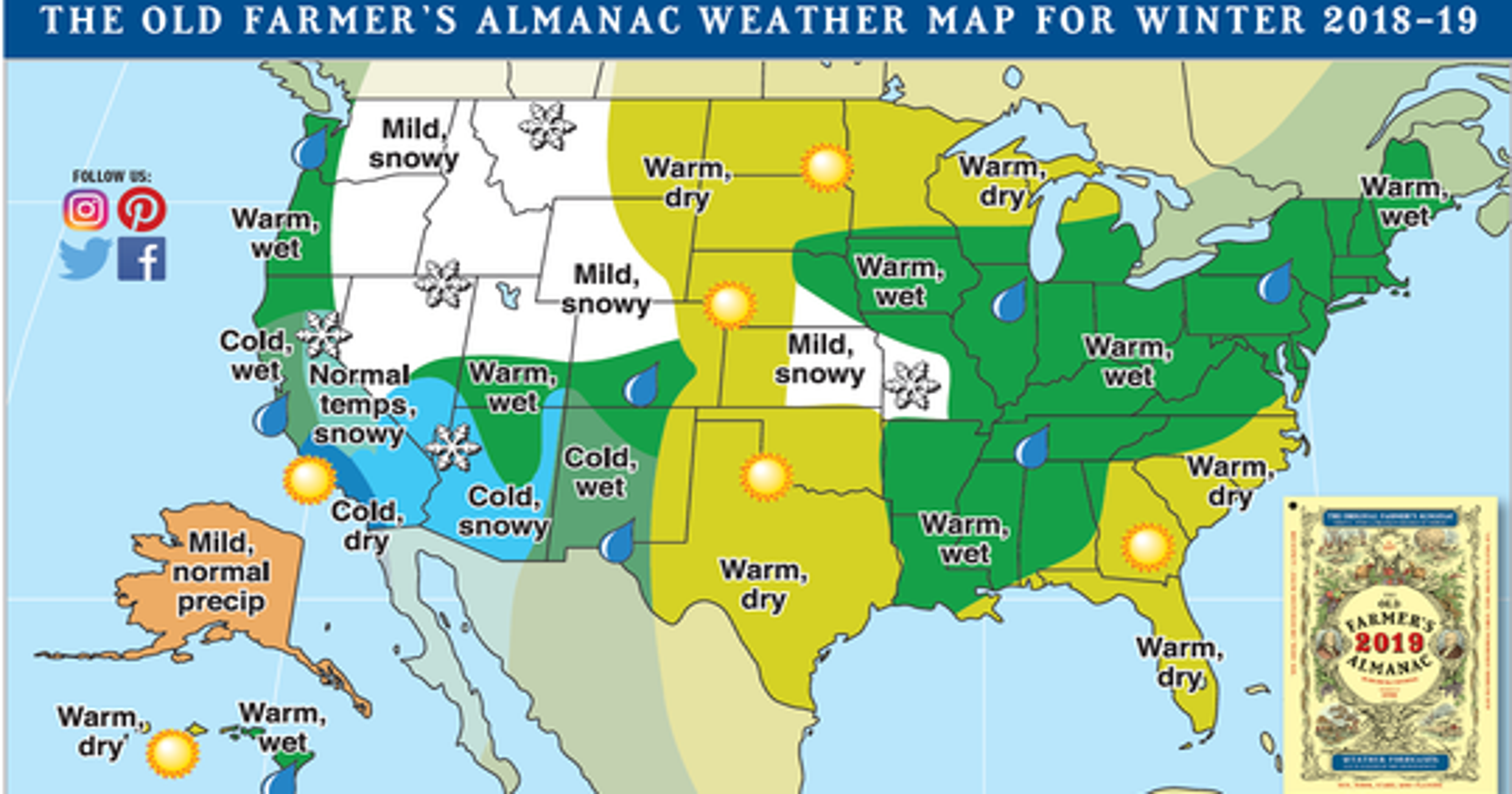 Farmers Almanac The Prediction For 2018 Winter In Michigan - Map-of-us-snowfall