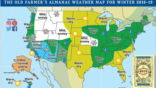 Old Farmer's Almanac prediction map for this winter