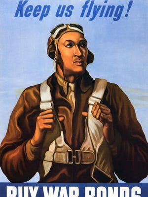The Tuskegee Airmen, the first African-American pilots in U.S. history, escorted heavy bomber missions across Europe in World War II. This poster, featuring the Tuskegee Airmen, was among those that encouraged Americans to buy war bonds. th
