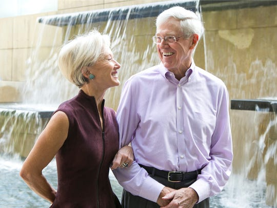 This photo taken Sept. 26, 2012 shows Charles and Liz Koch at Koch Headquarters in Wichita, Kansas. They?re demonized by Democrats, who lack a liberal equal to counter their weight, and not entirely understood by Republicans, who benefit from their seemingly limitless donations. Married 44 years Liz says she is the only one that has cut his hair since they've been married.