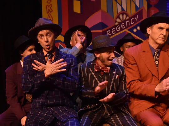 """The cast of the Jackson Theatre Guild's production of """"Guys and Dolls"""" rehearses Tuesday night."""
