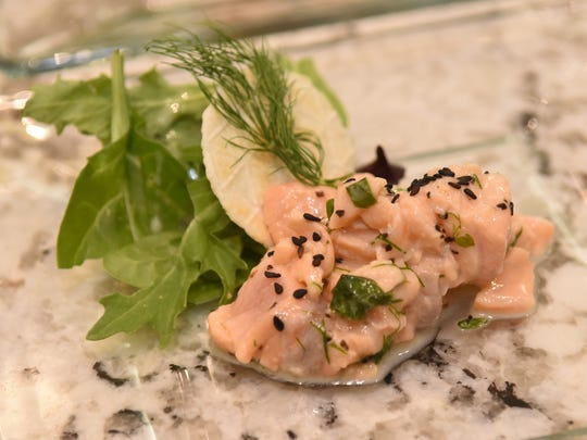 Hardette Harris first course was Salmon Ceviche in a fresh Basil, Dill and Dijion Marinade