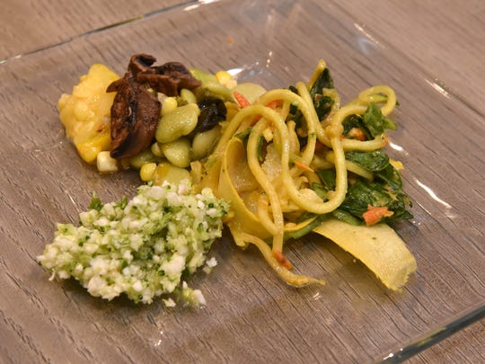 Chef Libby Patterson's third course was a sad trio of cauliflower tabbouleh and raw pad Thai. Succotash with smoked pulled mushroom.