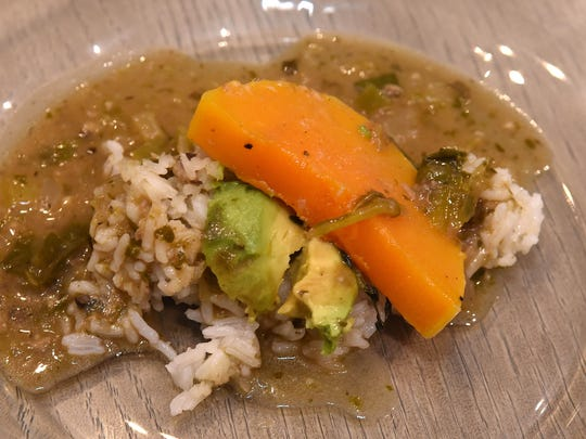 Chef Libby Patterson's fourth course was a deconstructed green gumbo, roasted squash and not so dirty rice with green gumbo jus.
