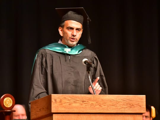 Jamie Casap delivers the commencement address at Felician University's commencement ceremony on Saturday, May 19, 2018.