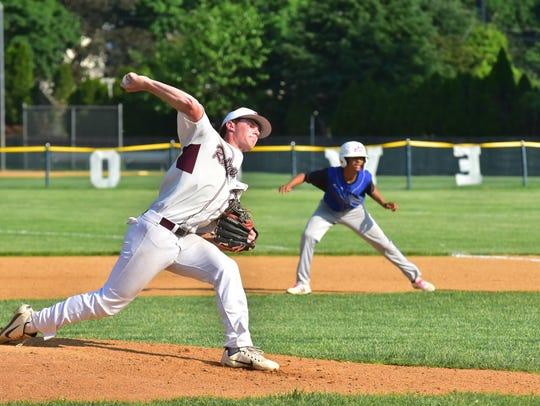 Ridgewood Sam Favieri pitches vs Passaic Tech in the