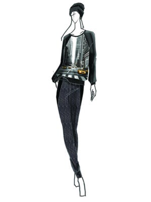 Elie Tahari for DesigNation Taxi Cab Sweatshirt Sketch for Kohl's. The limited-edition collection hits Kohl's stores and kohls.com in September 2014.