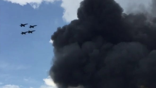 A video by Briann McGriff shows Blue Angels witness the crash of their fellow pilot Capt. Jeff Kuss in Smyrna, Tennessee Thursday, June 2.