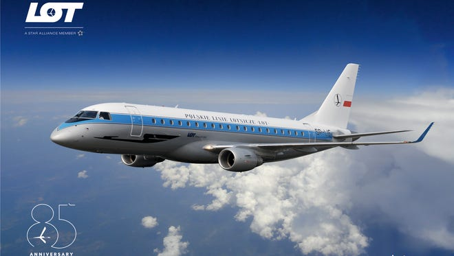 """This image provided by LOT shows an image of how its """"retro"""" Embraer E175 will look in the new paint scheme."""