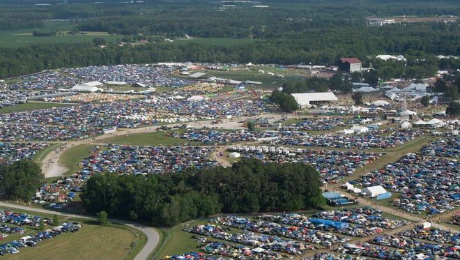 An aerial view of the 2015 Bonnaroo Music and Arts Festival grounds  showcases the enormity of the venue.