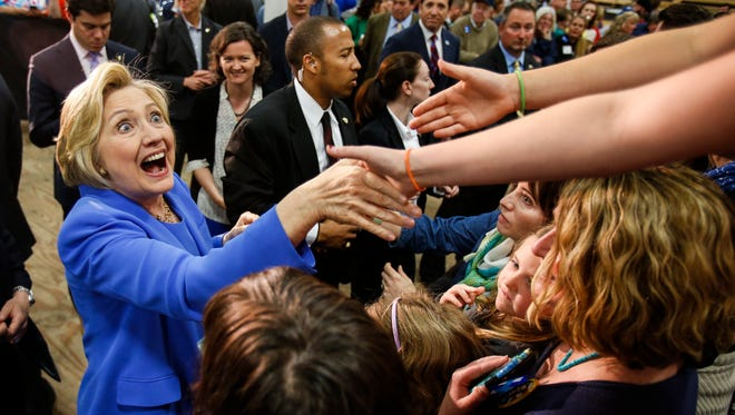 Secretary of State and presidential hopeful Hillary Clinton meets supporters following her speech at the Union of Carpenters and Millwrights training center in Louisville, Ky. on Sunday afternoon. May 15, 2016