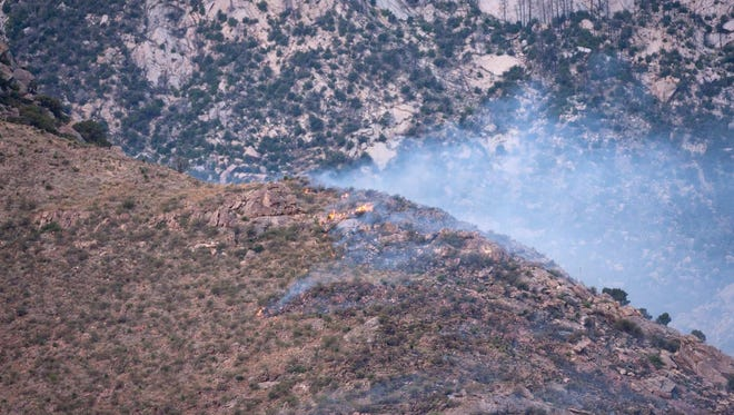 Firefighters with the Bureau of Land Management, White Sands Missile Range and Fort Bliss battled an approximately 20-acre wildfire Tuesday on the east side of the Organ Mountains, near WSMR
