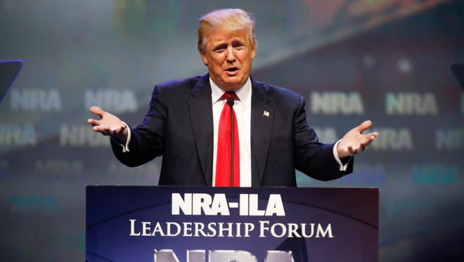 Republican presidential candidate Donald Trump speaks during the NRA Annual Convention Leadership Forum Friday at Freedom Hall. May 20, 2016