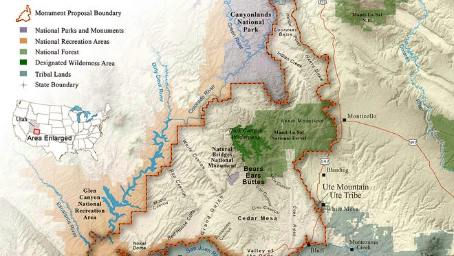 The proposed 1.9 million-acre Bear Ears National Monument would be located in eastern Utah.