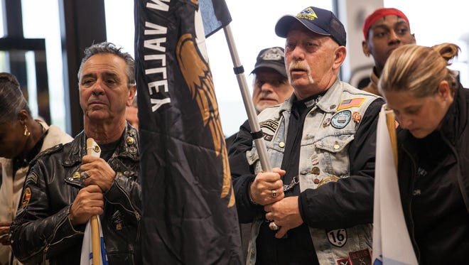 """Hudson Valley NY HOG Chapter Secretary Guy Gebbia, left, and Director Fred Perino attend and assist the """"Roll It Out"""" event, announcing the Rockland Independent Living Center centers official new name """"Bridges."""" The event was held at Hudson Valley Harley Davidson in Nanuet, Oct. 22, 2016."""