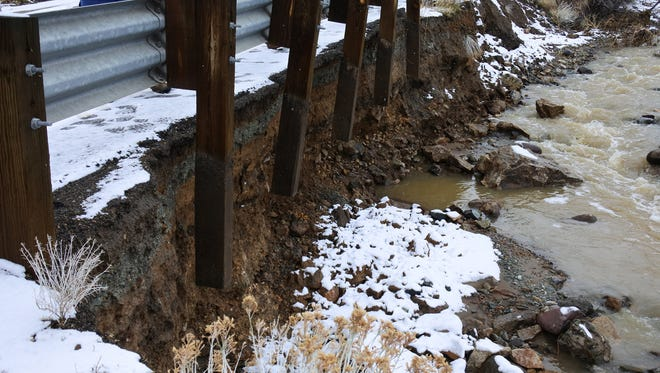 A look at the flood damage along Nevada 342, which reopened Tuesday after crews fixed the damages.