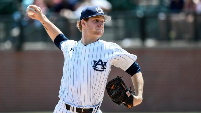 Auburn freshman pitcher Davis Daniel allowed three runs in five innings of a no-decision in a 7-3 loss to No. 14 Arkansas on Saturday, April 22, 2017 in Auburn, Ala.