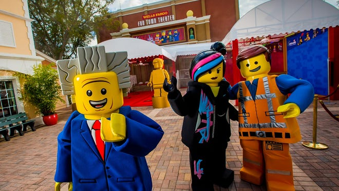 WINTER HAVEN, FL -- February 6, 2016 -- Emmet, Wyldstyle, and Risky Business at the opening of THe LEGO Movie 4D A New Adventure now playing the the Fun Town Theater at LEGOLAND Florida Resort.  (PHOTO / CHIP LITHERLAND)