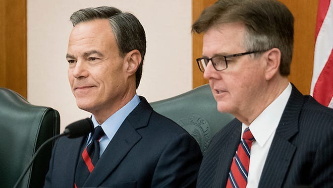 Outgoing House Speaker Joe Straus and Lt. Gov. Dan Patrick at a Legislative Budget Board meeting in Austin on Dec. 1, 2016.