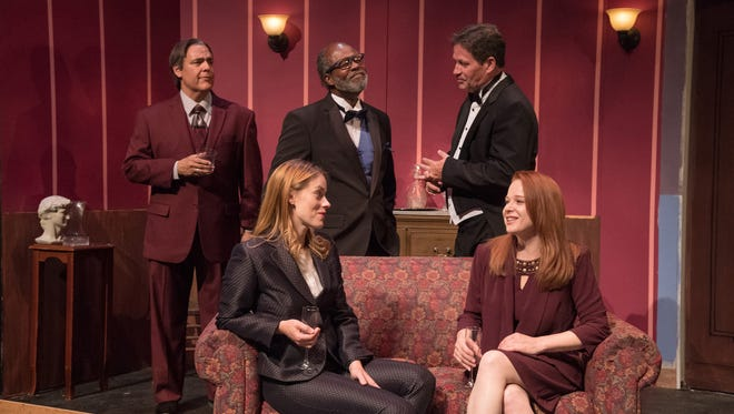 """Peter Sham, Holly Barrick, Clarence Gilyard, Richard Bugg and Kirsten Sham appear in the Neil Simon Festival's 2017 production of """"The Dinner Party."""""""