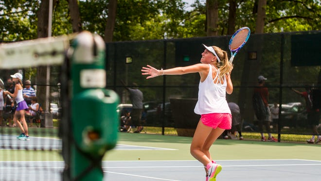 Paige Nicholson competes in the Girls 18 Singles Tournament Aug. 3. The tournament is part of the 60th annual Francis J. Robinson Memorial International Tennis Tournament, which continues at Sanborn Park with mixed doubles play Friday/