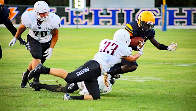 Lehigh hosted Braden River in a preseason high school football game on Friday, Aug. 18, 2017. Braden River won 21-14 in a game shortened by stormy weather.