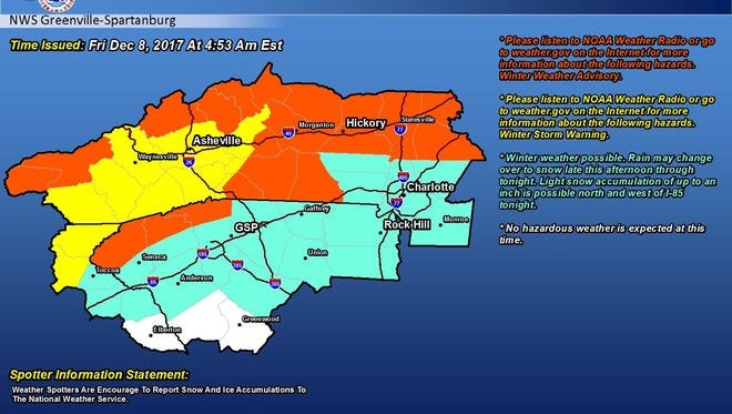NWS predicts up to an inch of light snow in parts of Greenville County Friday