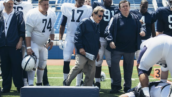 Al Pacino is shown directing a Penn State football practice in the upcoming movie, 'Paterno.' It is expected to center around the two weeks after former coach Jerry Sandusky is indicted on child sex abuse charges and Paterno is fired.