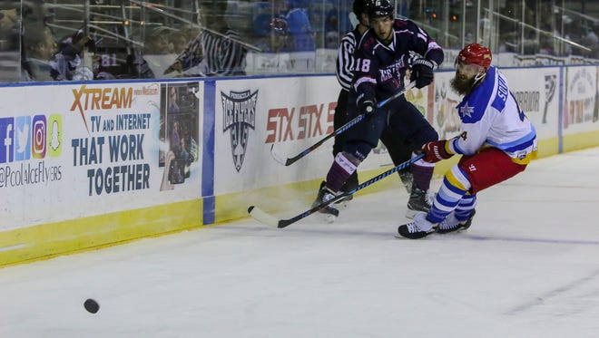 The Ice Flyers' Jessyko Bernard, shown in last Friday's game against Roanoke, had both Ice Flyers goals in Wednesday's loss against the Mississippi RiverKings.