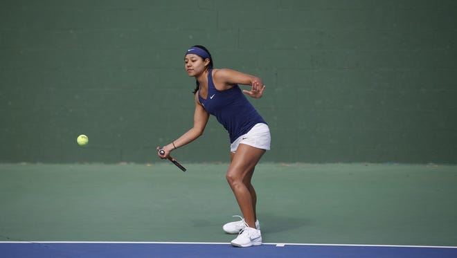 UTEP tennis player Erandi Martinez prepares to return the ball.